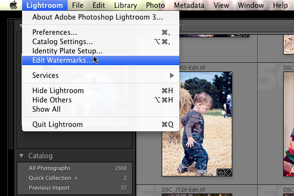 Selecting the Watermark Editor from the Lightroom/Edit menu