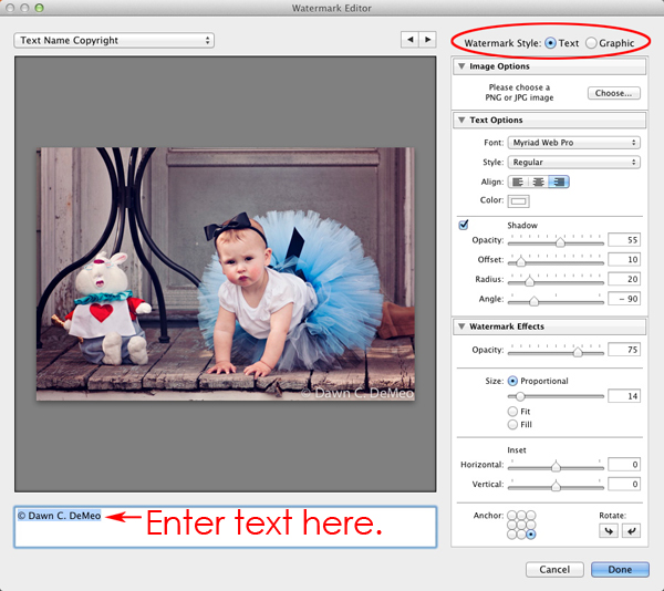 The Watermark Editor in Lightroom 3
