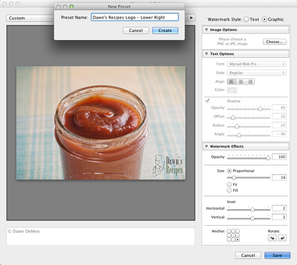 Saving and naming a watermark in Lightroom 3.