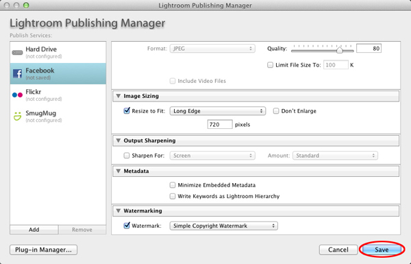 The Publishing Manger window in Lightroom 3