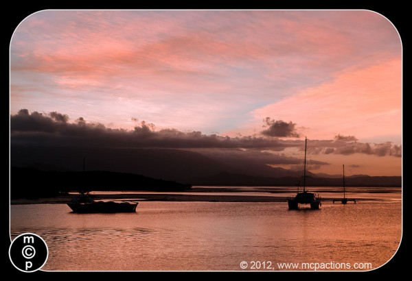 sunset silhouette of boats