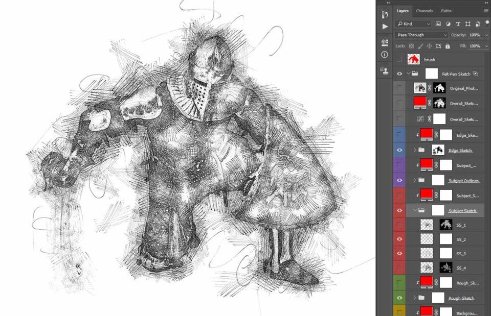 Photoshop Photo Line Art Effect : Felt pen sketch photoshop action mcp™ actions and