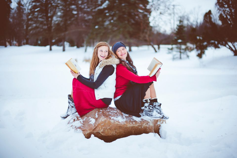 photo of girls in snow