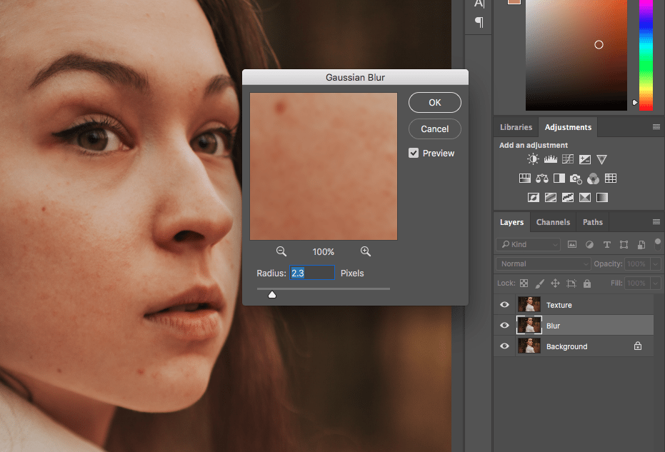 Blur layer and go to Blur > Gaussian Blur to remove blemish